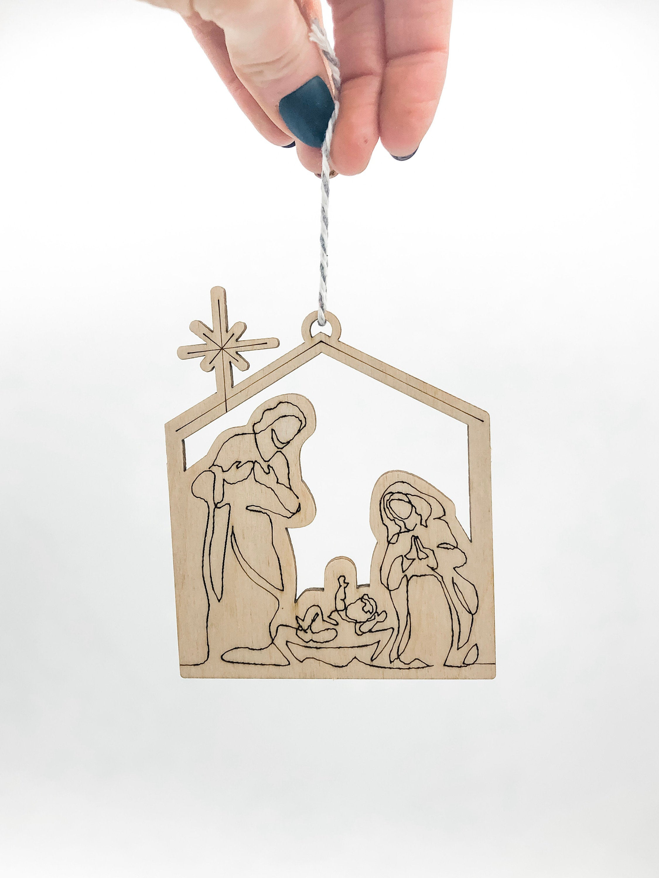 Wood Nativity Pop Out Ornament Christmas Card