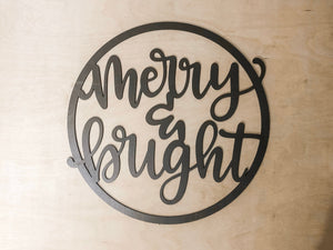 "New Style Christmas Hoop Wreath ""Merry & Bright"""
