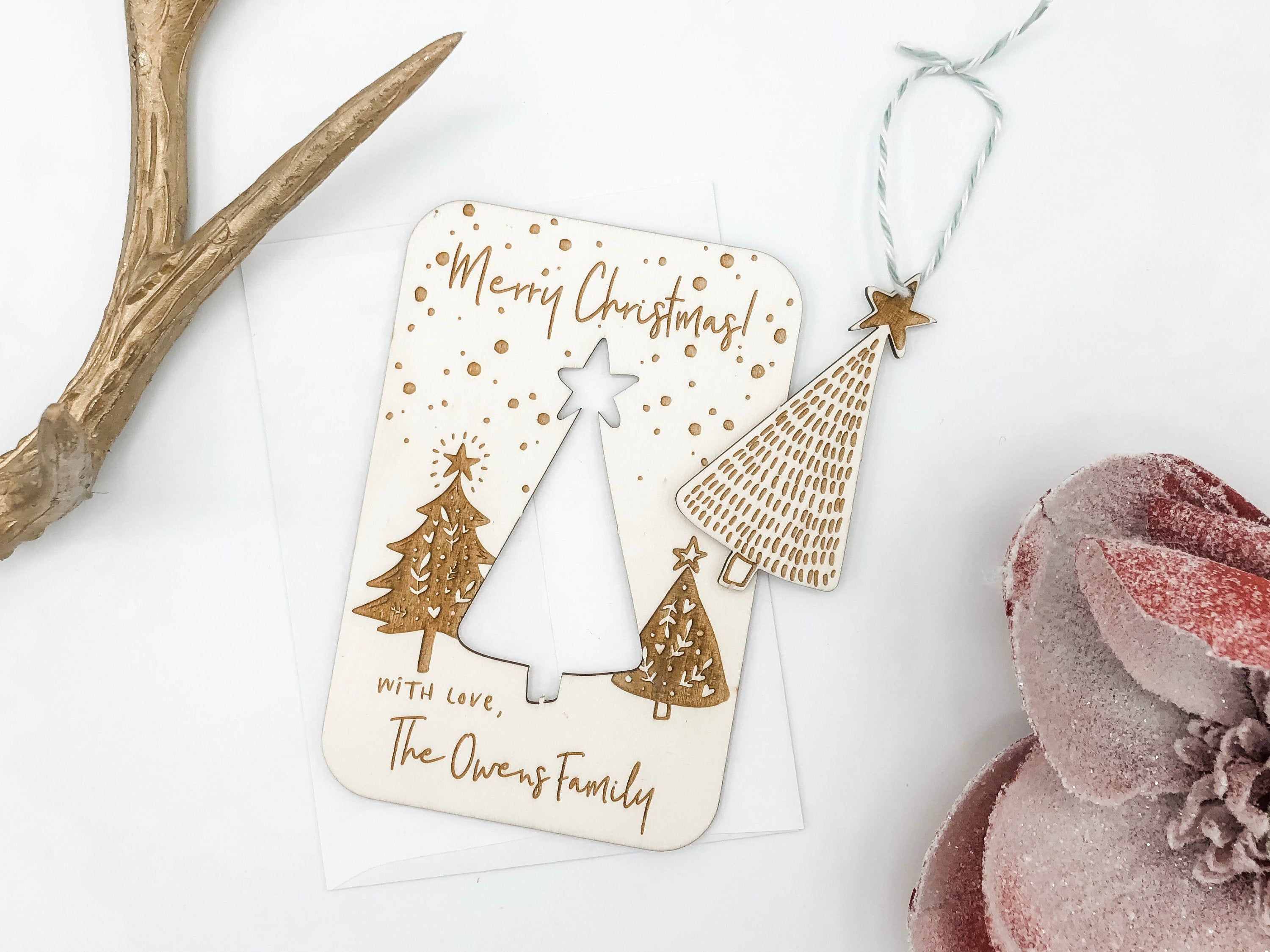 Wood Customized Pop Out Ornament Christmas Card