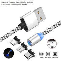 Multi Charging Magnetic Cable, 3 In 1 Nylon Braided Fast Charging Cord Magnetic Charger