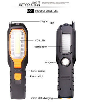 4000Lm COB LED Work light USB Rechargeable