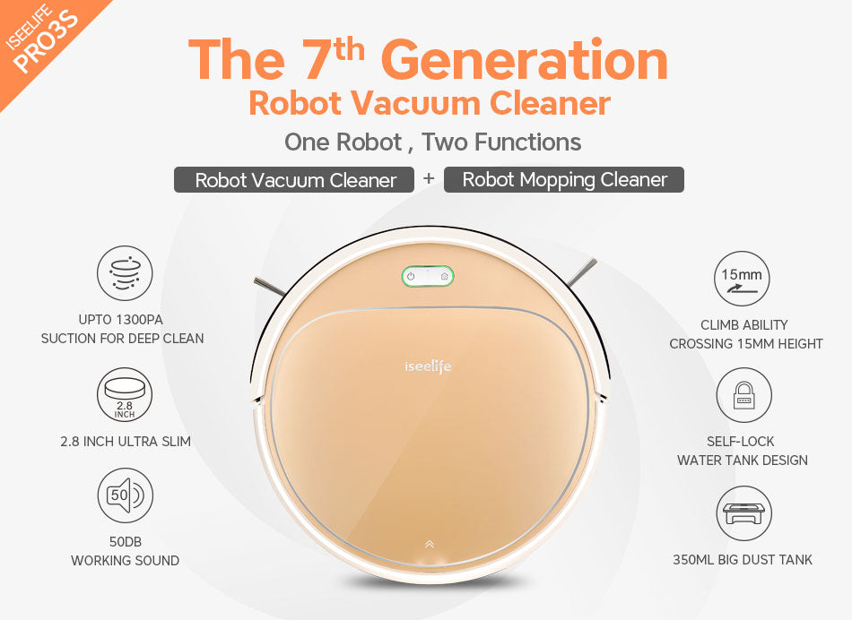 ISEELIFE 1300PA Smart Robot Vacuum Cleaner
