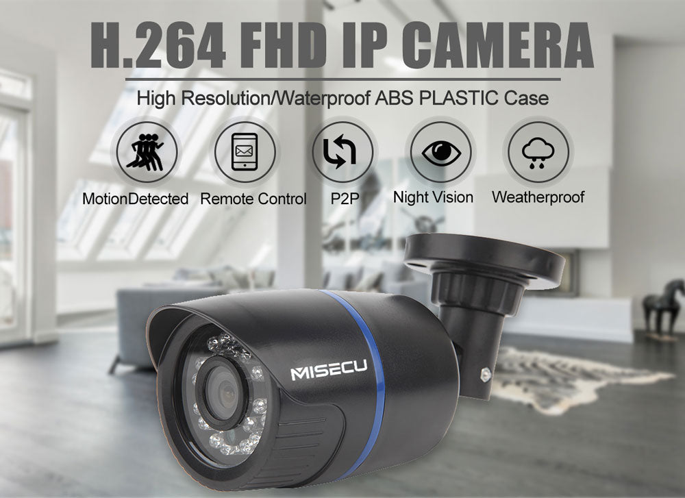 MISECU 6mm wide IP Camera Motion Surveillance CCTV Outdoor