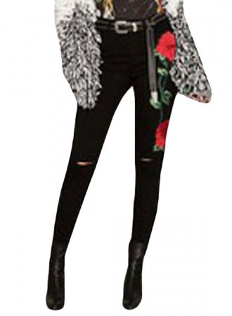 Double Rose Embroidery Distressed Skinny Jeans