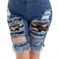 Blue Camo Patchwork Frayed Cutout Denim Shorts