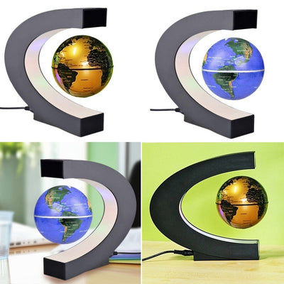 C shape Black Blue LED World Map