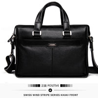 P. Kuone Genuine Man Leather Briefcase