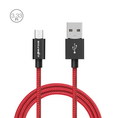 BlitzWolf® Micro USB Braided Charging Data Cable 3.33ft/1m  Magic Tape Strap