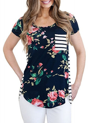 Floral and Striped Casual T-shirt