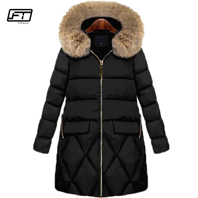 Fitaylor 2018 Cotton Padded Coat Female Winter Black Jacket Women