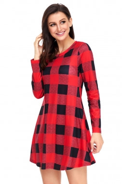 Black Red Plaid Mini Dress
