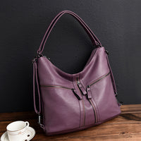 Women Multiple-used Pu Leather Backpack Crossbody Bag