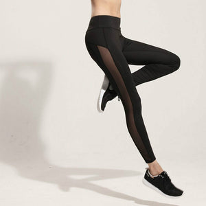 Fashion Mesh Splice Fitness Leggings Women Slim Black