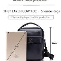 BULLCAPTAIN 2019 Men's Leather Fashion Zip Crossbody Bag