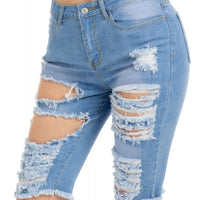 Light Blue Frayed Cutout Bermuda Shorts