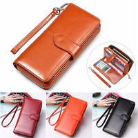 Oil Leather Long Hasp Wallet