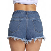 Medium Blue Denim Frayed Destroyed Shorts