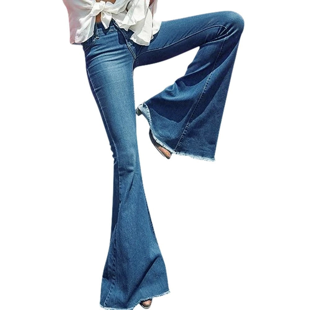 Spring autumn Wide Leg Distressed Flared Jeans