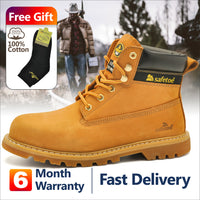 Safety Work Style Men Shoes Yellow Lace Up Steel Toe