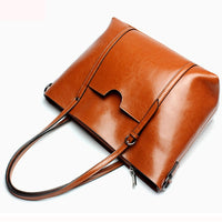 Women Oil PU Leather Tote Handbags
