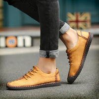 US Size 6.5-11 Men Hand Stitching Soft Sole Casual Lace Up Oxfords Shoes