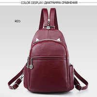 Women Backpacks Casual Black Soft Leather Multifunction Zipper