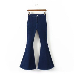 Fashion High Waist Flare Jeans Women Bell Bottom Denim