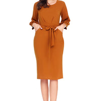 Mustard Puff Sleeve Belt Chiffon Pencil Dress