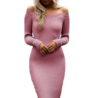 Off Shoulder Long Sleeve Rib Knit Sweater Dress