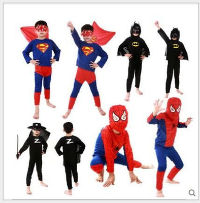 Spider Man, Batman, Superman, Zorro Kid  costumes