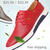 New 2019 Men Casual Shoes Leather Summer Breathable Holes Luxury Brand Flat Shoes for Men Drop Shipping,red Shoes,6