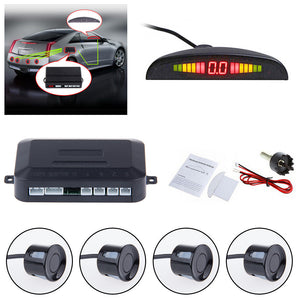Car LED Parking Reverse Backup Radar System  4 Sensors