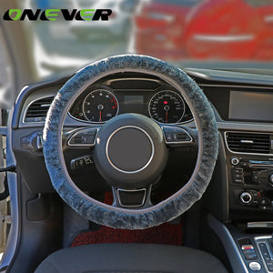 Onever 3pcs Plush Car Steering Wheel Covers