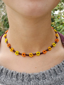 Fall Sunflowers Daisy Chain Choker Necklace | Daizeez
