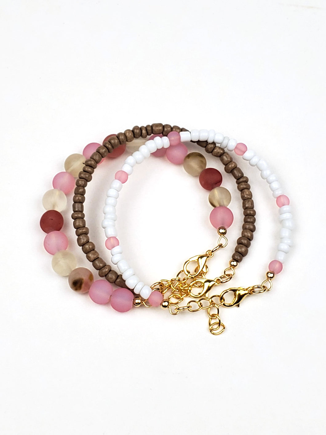 Cherry Blossom Beaded Gold Bracelet Stack | Daizeez
