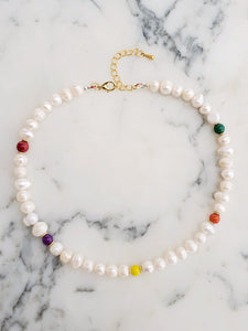 Rainbow and Freshwater Pearls Adjustable Necklace | Daizeez
