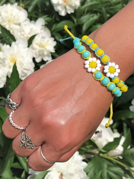 adjustable braided daisy flower bracelet