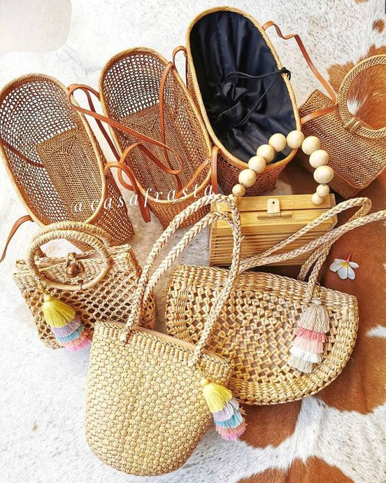 Many different styles of rattan bag and longest weekend.