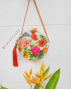 Rattan bag round uk with leather handle or leather strap for boho