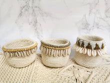 macrame crochet basket with shells
