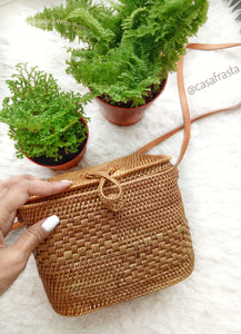 A gorgeous rattan bag round from Bali perfect for your summer travels.