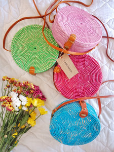 colorful round rattan bag handmade in bali