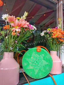 Green rattan wicker bag in Bali to brighten up your day