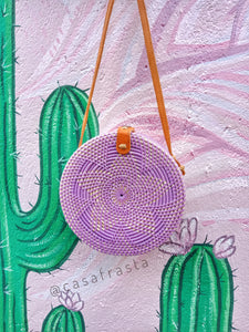 purple round rattan bag
