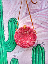 Red Bali bag outfit rattan Indonesia colourful handbags diy OOTD beach pattern style flatlay black pink green mustard rattan bags