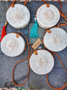rattan bag with sea shells free shipping worldwide