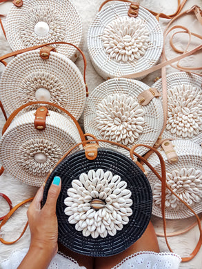 shell rattan bag for beach