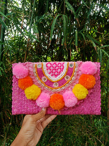 pompom beach bag pinterest inspired Bali bag street style