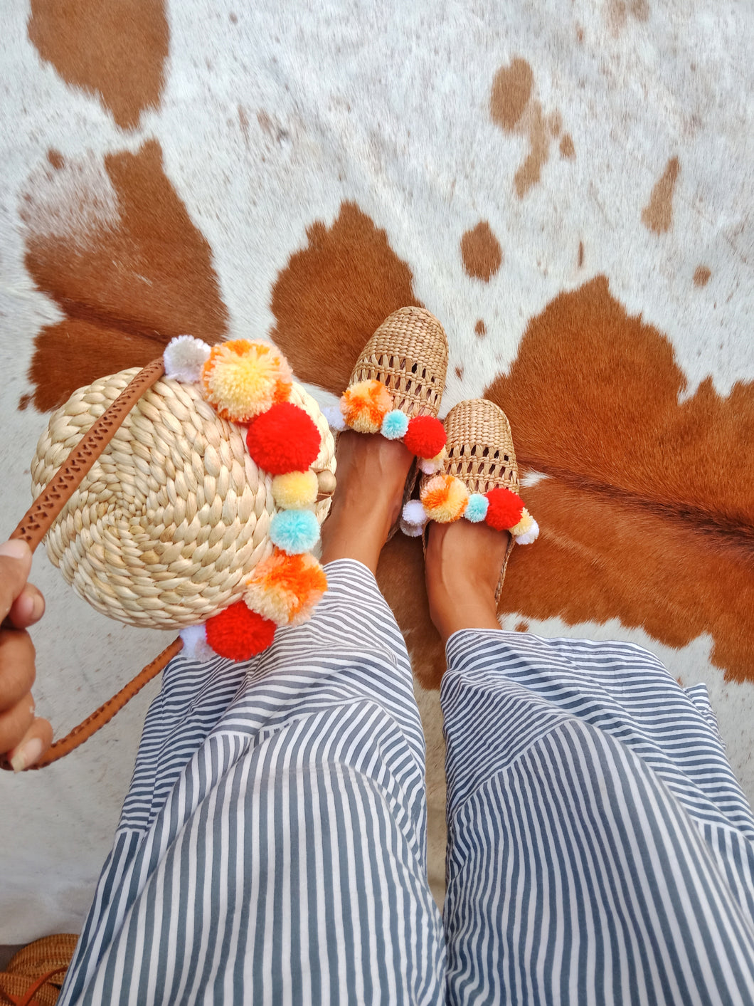 Pom Pom Slippers and Pom pom Wicker