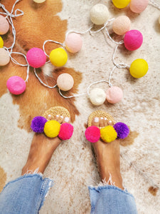 Handmade Water Hyacinth Pom Pom Slippers